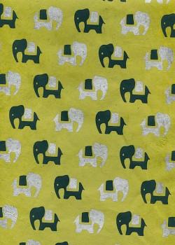 Lokta éléphants noir et argent fond vert anis (50x75)