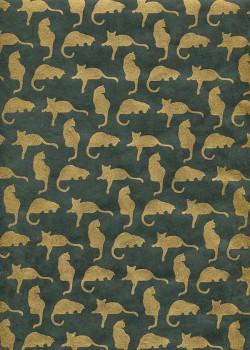 Lokta les chats dorés sur fond vert (50x75)