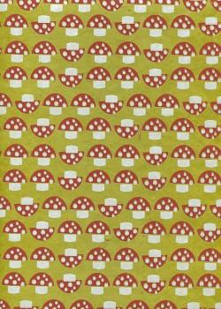 Lokta les champignons fond vert anis (50x75)