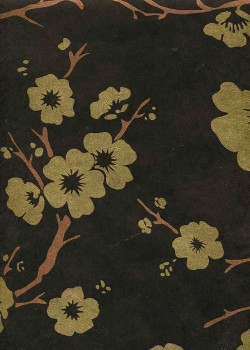 Lokta cerisier en fleurs or et cuivre fond noir (50x75)