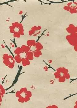 Lokta cerisier en fleurs rouge et noir fond naturel (50x75)