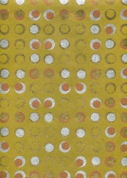 Lokta pastilles or argent et cuivre fond vert olive (50x75)