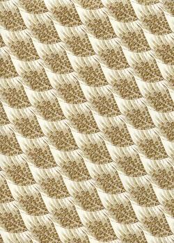 Venise plumes - beige réhaussé or (70x100)