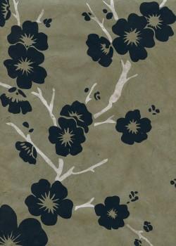 Lokta cerisier en fleurs bleu marine et argent fond taupe (50x75)