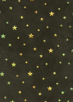 Voile intissé noir étoiles paillettées or (50x70)