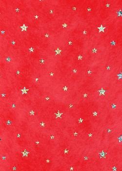 Voile intissé rouge étoiles paillettées argent (50x70)