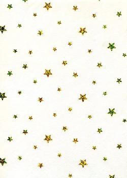 Voile intissé blanc étoiles paillettées or (50x70)