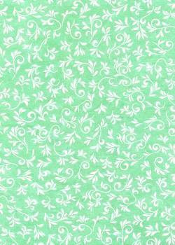Arabesques argent fond vert jade (50x70)