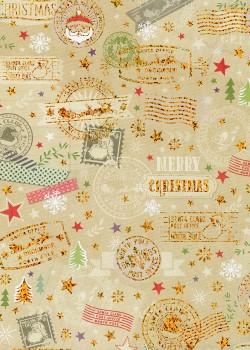 Le courrier du père Noël fond beige réhaussé or (68x98)
