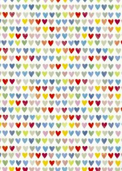 Coeurs vernis multicolores fond blanc mat (50x70)