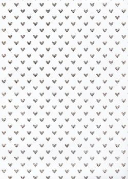 Petits coeurs argent fond blanc (50x70)