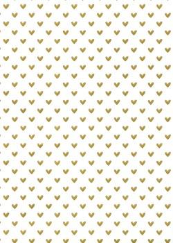 Petits coeurs or fond blanc (50x70)