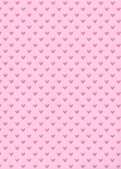 Petits coeurs nacrés rose fond rose (50x70)