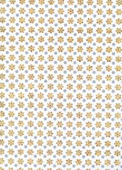 Les flocons noirs et or fond blanc (50x70)