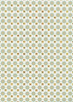 Rosaces turquoises réhaussées or (50x70