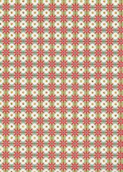 Mosaïque rouge et verte réhaussée or (50x75)