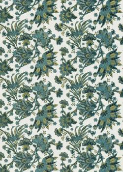 Feuillage bleu réhaussé or (50x70)