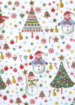 Bonhommes de neige et sapins réhaussés argent (50x70)