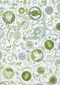 Feuillage et bulles ambiance vert tendre réhaussé argent (50x70)