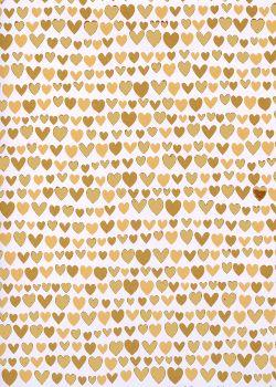 Les coeurs beiges et or vif (50x70)