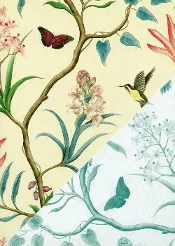 """Recto verso """"L'arbre aux oiseaux et papillons / idem 2 tons bleu"""" (50x70)"""
