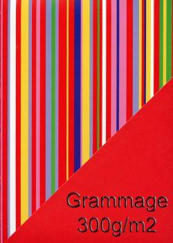 "Recto verso ""Rayures multicolores / uni rouge"" (50x65)"