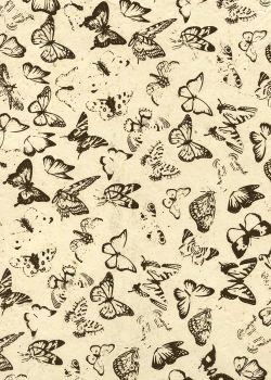 Lokta papillons noirs fond naturel (50x75)