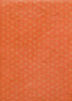 Lokta coeurs de fleurs or et cuivre fond orange (50x75)
