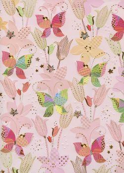 Papier Turnowsky les papillons réhaussés or fond rose (50x70)