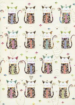 Papier Turnowsky les matous réhaussés or fond vanille (50x70)