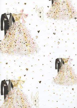 Papier Turnowsky la tenue des mariés réhaussée or (50x70)