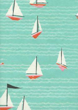 Les voiliers fond menthe (50x65)