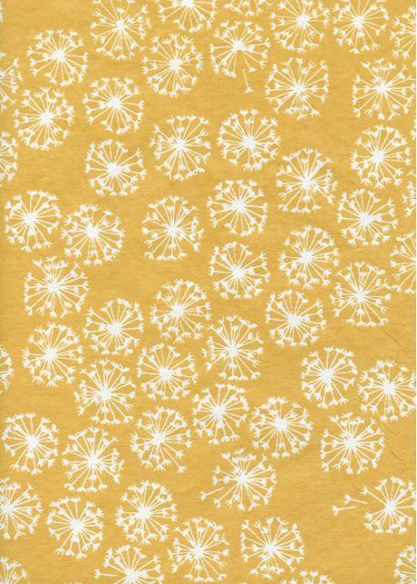Les fleurs de pissenlit fond ocre jaune (50x65)