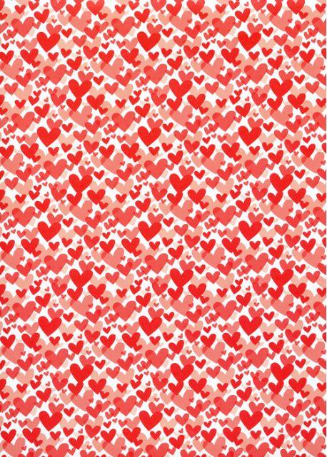Méli mélo de coeurs rouges (68x98)