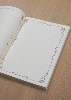Cahier ivoire avec enluminure et lignes 17x24cm (80 pages)