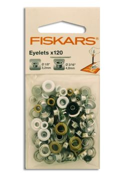 Pack FISKARS de 120 œillets ronds (3.2mm & 4.8mm)