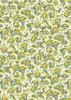 Venise - vert jaune et turquoise réhaussé or (70x100)