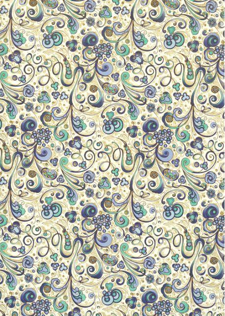 Venise arabesque - 2 tons de bleu réhaussé or (70x100)