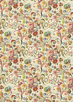 Venise arabesque - multicolore réhaussé or (70x100)