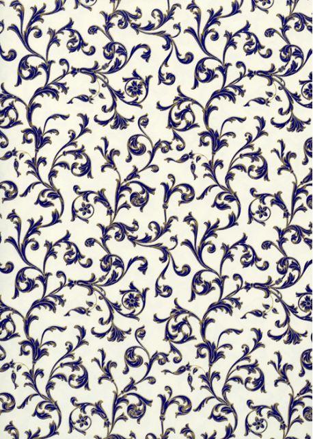 Venise arabesque - bleu réhaussé or (70x100)