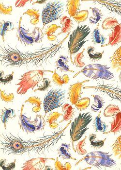 Venise plumes - multicolore réhaussé or (70x100)