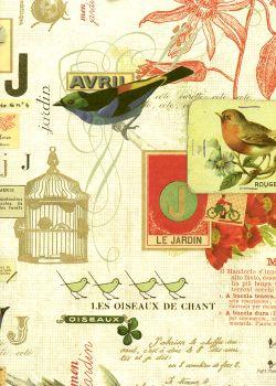 Ecriture et cage aux oiseaux réhaussé doré (70x100)