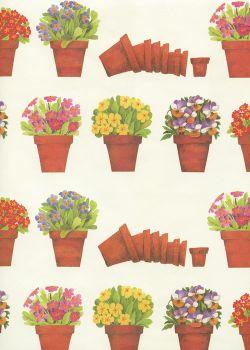 Les pots de terre fleuris (70x100)