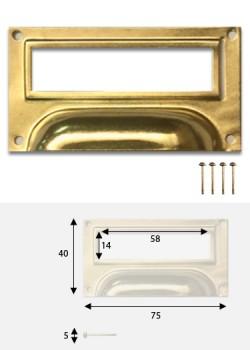 Poignées porte-étiquette doré (40x75mm) + fixations