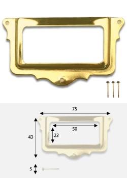 Porte-étiquette festonné doré (L: 75 x l: 43mm) + fixations