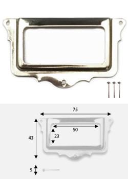 Porte-étiquette festonné argent (L: 75 x l: 43mm) + fixations