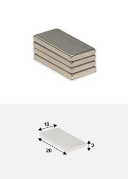 Aimants plats 20x10mm épaisseur 2mm