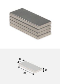 Aimants plat 25x10mm épaisseur 2mm