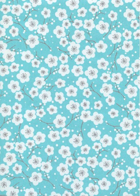 """Kraft fantaisie"" cerisier en fleurs fond turquoise (70x100)"