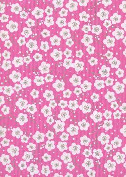 """Kraft fantaisie"" cerisier en fleurs fond fushia (70x100)"